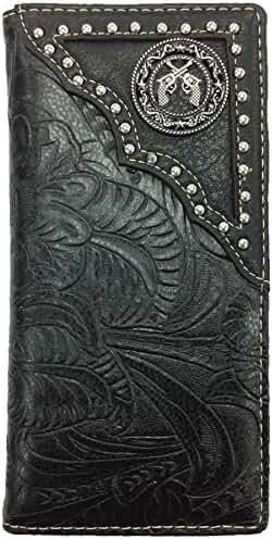 Pistol Mens Wallet Western Bifold Check Book Style W030-16 Black