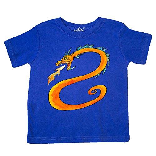 Breathing Dragon Fire T-shirt (inktastic - Fire-Breathing Dragon Toddler T-Shirt 4T Royal Blue 29c96)