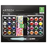 Arteza Classic Watercolor Paint, Set of 36 Vibrant Color Cakes, Includes 1 Water Brush Pen