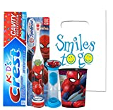 Marvel Spider Man 4pc Bright Smile Oral Hygiene Bundle! Turbo Spin Toothbrush, Toothpaste, Brushing Timer & Mouthwash Rinse Cup! Plus Dental Gift Bag & Tooth Saver Necklace!