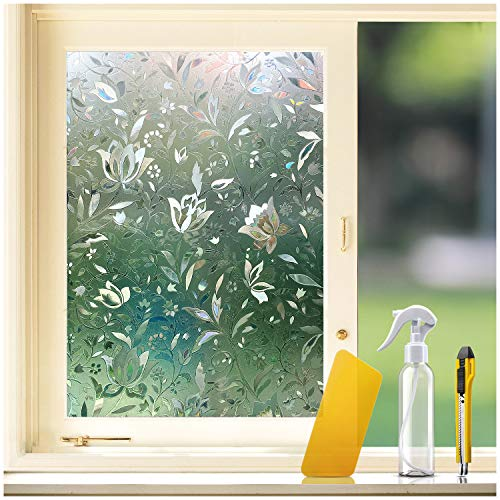 """KKDragon 3D Window Film Privacy Window Film 23.6""""x78.7"""" + Utility Knife + Spray Bottle + Squeegee Application Tool Kit (Non-Adhesive Static Cling Decorative Tulip Window Film)"""
