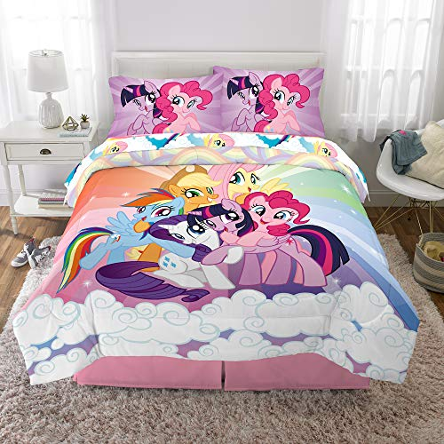 Hasbro My Little Pony Kids Bedding Soft Microfiber Comforter and Sheet Set 5 Piece Full Size Multi-Color -