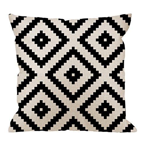 (HGOD DESIGNS Graphic Arrangement Pillow Case,Black White Diamond Grid Pixel Cotton Linen Cushion Cover Square Standard Home Decorative Men/Women 18x18 inch White)