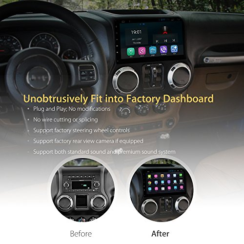 AIMTOM AMJK-101AD 2015-2018 Jeep Wrangler JK In-dash GPS Navigation Android Stereo Bluetooth A2DP 10.1 Inch HD Touch Screen AV Receiver FM AM Radio Multimedia Player Built-in Wi-Fi Infotainment System by AIMTOM (Image #2)
