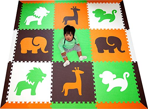 Rug Covering Floor White - SoftTiles Interlocking Children's Foam Play Mats- Safari Animals Orange, Lime, Brown, and White- Premium Foam Mats for Kids Playrooms and Baby Nursery- Large 6.5 x 6.5 ft.- OLBW
