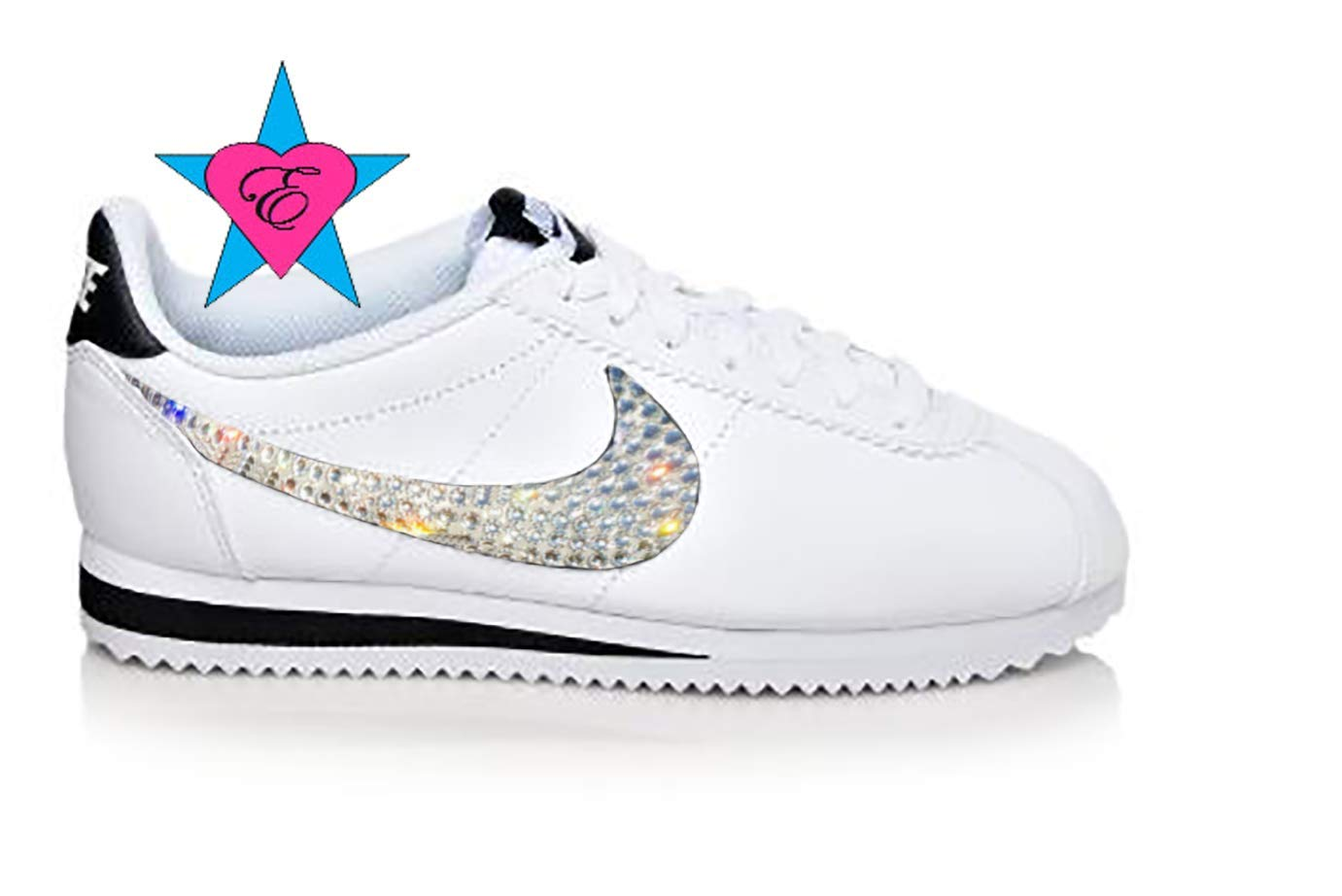 save off 0950a cf159 Amazon.com: Glitter Kicks Nike Kids | Bedazzled White Black ...