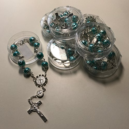 Aqua/Silver Boy/Girl Hand Bracelet,Mini Rosary Rhinestone Memories Gift For Baptism/First Communion Festivities 12 party pack