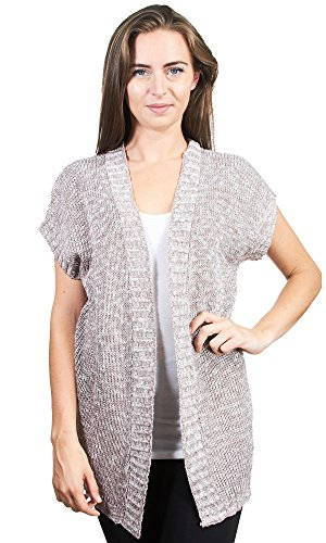 Short Sleeve Knit Cardigan (Knit Minded Womens Ladies Shaker Stitch Rib Space Dye Fly Away Cardigan Sweater Brown Combo Large)