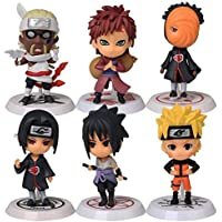 Hapsters Mini Naruto PVC Figure Collectible Model with Stands (2.5 Inches) -Set of 6 Pieces