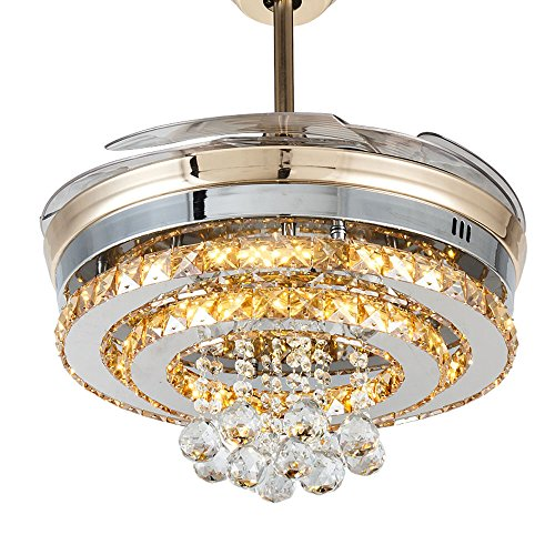 Huston Fan Indoor Chandelier Fan Retractable Bedroom Ceiling Fan Light LED Three Color Change,Three Speed,Timing Design,Energy Saving,Three Down Rod Include,Lamp and Fan (42 Inch, Gold-3) ()