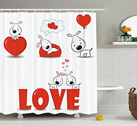 Dog Shower Curtain Valentines Set by Ambesonne, Puppy Love with Hearts and Dogs His and Hers Heart Balloon Romantic Cartoon Print, Fabric Bathroom Decor with Hooks, 70 Inches, Red (His And Her Bathroom Decor)