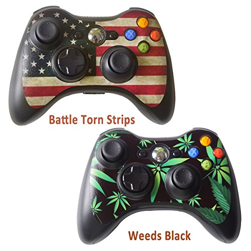 2pcs Skin Stickers for Xbox 360 Controllers - Vinyl Leather Texture Sticker Slim Game Controller - Protectors Stickers Controller Decal - Battle Torn Strip&Weeds Black [ Controller Not Included ()