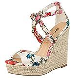 Women's Wedges Sandals High Platform Open Toe Ankle Strap Shoes Ladies Strappy Open Toe Cutout Sandal Buckles LONGDAY