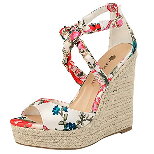 (Kauneus Womens Stylish Strappy Criss Cross Open Toe Wedge Buckle Ankle Strap Waterproof Platform Sandals Multicolor White)