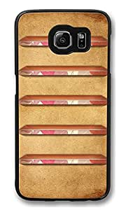 S6 Case, Pink And Brown Retro Shelves Creativity Ultra Fit Black Bumper Shockproof Case For Galaxy S6 Customizable Hard PC Samsung Galaxy S6