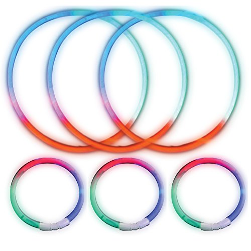50 Piece Tri-Color Glow-in-the-Dark Party Set by ArtCreativity - 25 Glow Stick Bracelets and 25 Glow Necklaces - Stunning Tricolor Lighting Effect for Birthday, Concert, Rave, Wedding Favors & More - Glow Worm Costume Adults