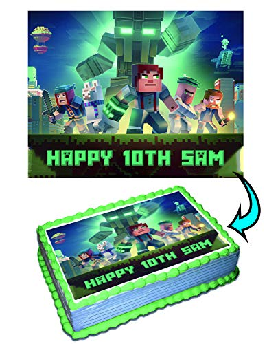 Minecraft Personalized Cake Toppers Icing Sugar Paper 8.5 x 11.5 Inches Sheet Edible Frosting Photo Birthday Cake Topper (Best Quality Printing)]()
