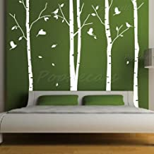 Custom PopDecals - On Sale - Set of 4 big birch trees - 8 feet 6 in - Beautiful Tree Wall Decals for Kids Rooms Teen Girls Boys Wallpaper Murals Sticker Wall Stickers Nursery Decor Nursery Decals