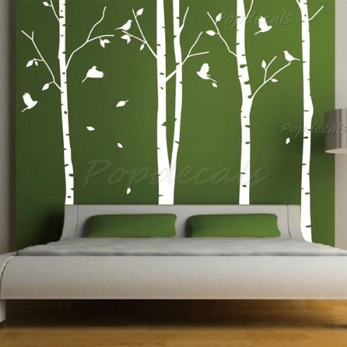 Set of 4 Big Birch Trees in White- 8.5 ft nursery wall decal
