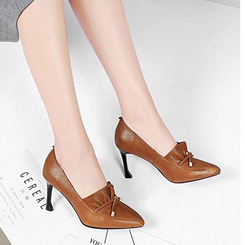 pour Talons Pointus Chaussures brown Talons Fête Chaussures de Hauts Professionnelles Cuir de DKFJKI Chaussures Travail Mode Dames 5nWqx41I