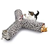 isYoung Cat Tunnel Play Tube, Collapsible 3 Way Play Toy with Peek Hole and 3 Toy Ball - Playing Tunnel for Kitten, Rabbits and Small Dogs