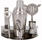 Premium 7 Piece Bar Set & Cocktail Shaker Kit by Bar Brat ™ / Free 110 Cocktail Recipe (ebook) Included / Pre-Built Stainless Steel Stand For All Your Bar Pieces