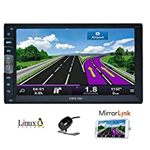 7 inch 2 Din Mirror Link for Android GPS Navigation Phones In Dash Car Stereo Radio HD 1024 600 Capacitive Muti-touch Screen Without DVD Player Bluetooth Mirror Link with Backup Camera