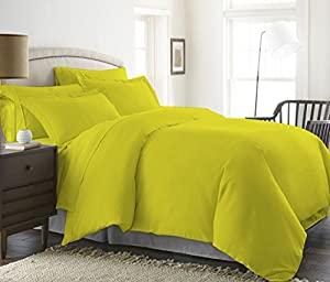 BED ALTER 1200 Thread Count 5 Piece Luxurious Duvet Cover (1 Duvet Cover and 4 Pillow Shams) Hypoallergenic 100% Egyptian Cotton Solid (Twin / TwinXL, Yellow)