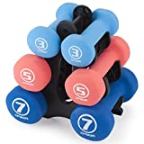 Crown Sporting Goods Set of 3 Pairs of Neoprene Body Sculpting Hand Weights with Stand (Strength)
