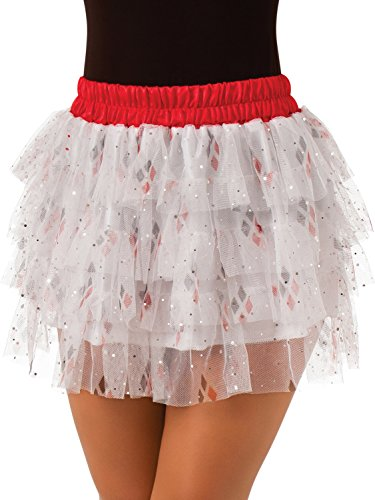 Secret Wishes  DC Comics Justice League Superhero Style Adult Skirt with Sequins Harley Quinn, Red, One Size -