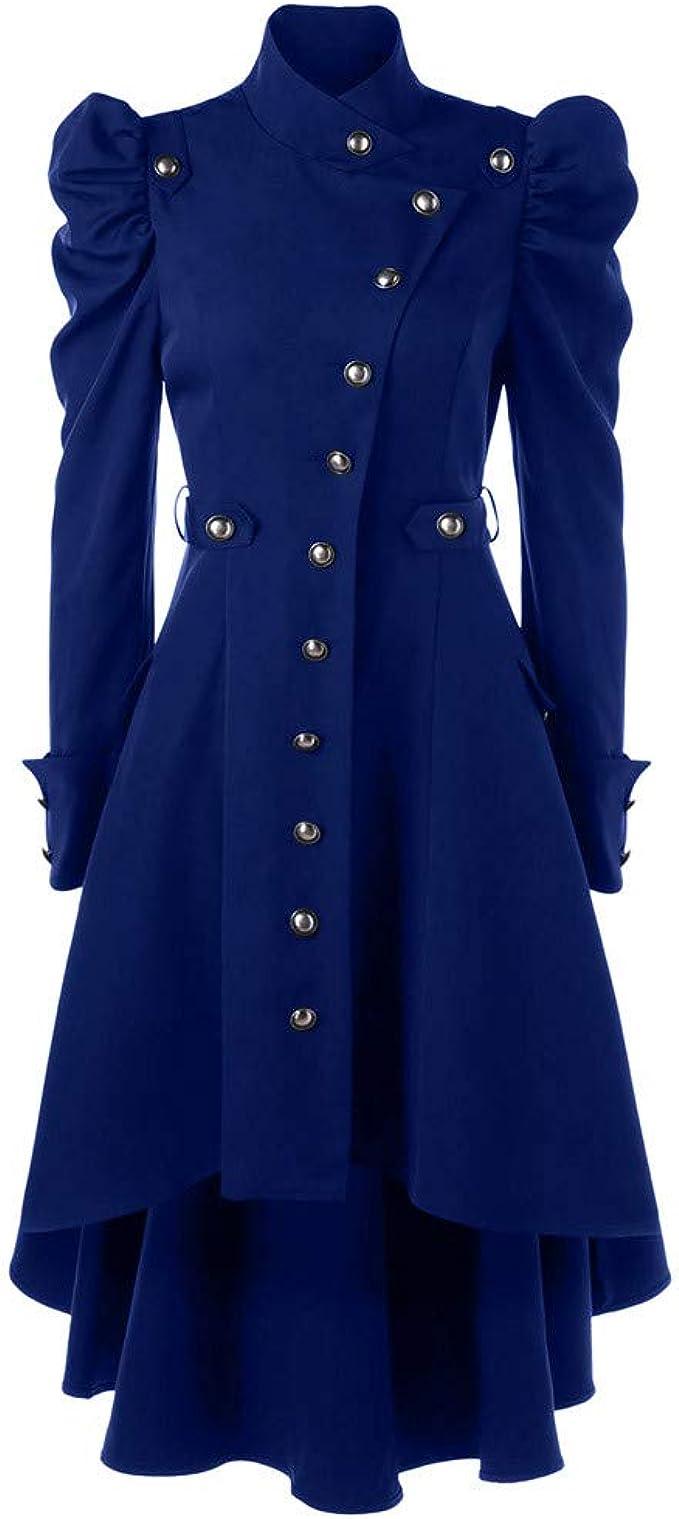 Oyedens Gothic Mantel Damen Schwarz, Steampunk Damen Jacke