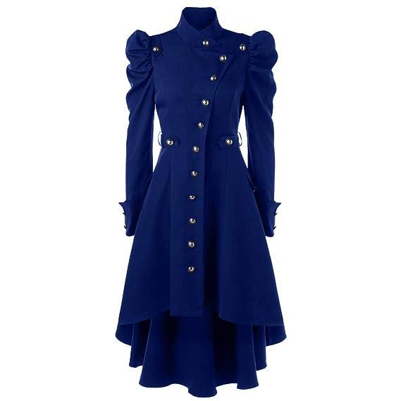 Vovotrade Damen Herbst Winter Elegant Gothic Mäntel Kleider Trenchcoat Lang Parka mit Asymmetrisch Saum Jacke Windbreaker Damen Steampunk Long Coat