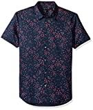 John Varvatos Men's Mayfield Floral Short Sleeve Slim Shirt, Deep Blue, XX-Large