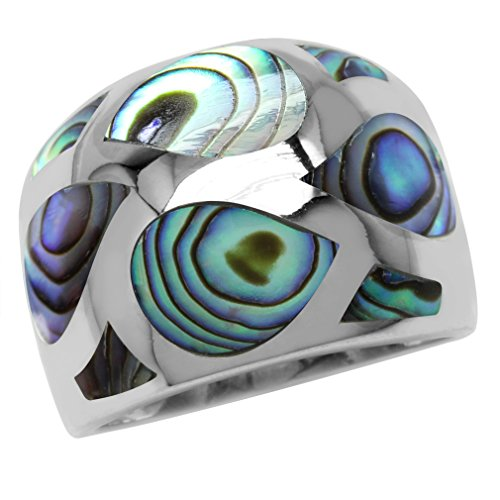 Abalone/Paua Shell Inlay White Gold Plated 925 Sterling Silver Dome Ring Size 8 (Abalone White Ring)