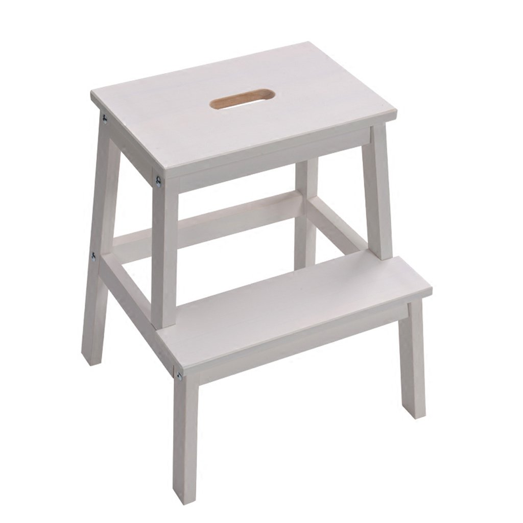 Step Stool Solid Wood 2 Layer Multifunction Ladder Stool Shoe Bench Children's Climbing Stool Furniture (Color : White, Size : 433950cm)