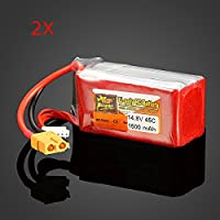 New 2 x ZOP Power 14.8V 1500mAh 4S 45C Lipo Battery XT60 Plug By KTOY