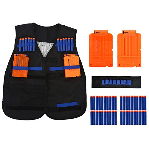 Bullet Jacket (Tactical Vest Kit,Kids Elite Tactical Vest Kit For Nerf Gun N-strike Elite Series with 2pcs 6-darts clips,1pcs wristband and 40pcs foam bullets)