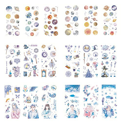 Magic Tools Kawaii Fantasy Blue Color Girl Boy Planet Constellation Self-Adhesive Washi Paper Stationery Sticker Set Decoration for Scrapbooking Diary Album Notebook Journal Agenda DIY -