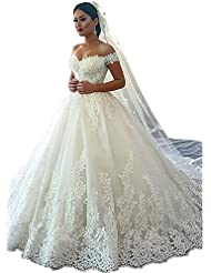 Dressylady 2018 Gorgeous Off The Shoulder Appliques Ball Gown Wedding Dress For Bride