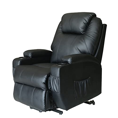 Deluxe Wall Hugger Power Lift Heated Vibrating Massage Recliner Chair with Wheels Control Black