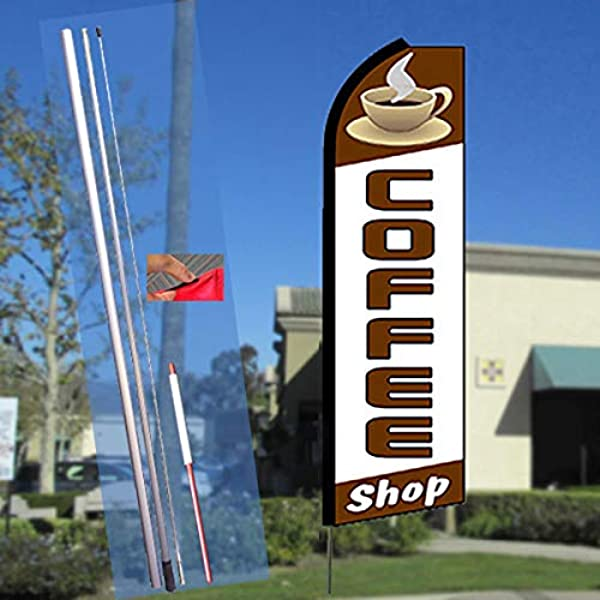 Rentals Flutter Feather Flag Kit Bundle Flag, Pole, /& Ground Mount