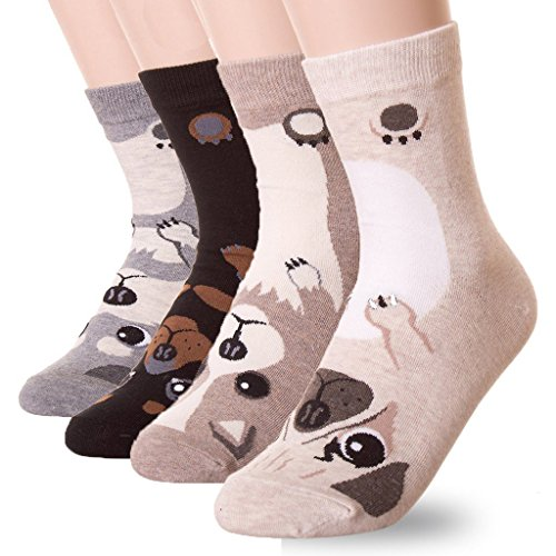 DearMy Womens Cute Design Casual Cotton Crew Socks | Good for Gift Idea| One Size Fits All | Gifts for Women (Puppy 4 Pairs) -