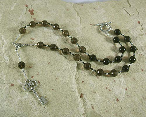 - Hekate Prayer Bead Necklace in Smoky Quartz and Black Onyx: Greek Goddess of Magic, Witchcraft