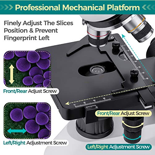 Monocular Compound Microscope 80X-1600X, Research-Grade Lab Microscope with 10X/20X Eyepieces, Mechanical Stage, Fine Focusing, Phone Adapter, Rechargeable Microscope for Science Education