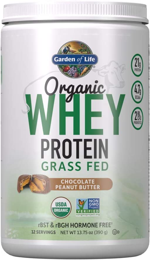 Garden of Life Certified Organic Grass Fed Whey Protein Powder - Chocolate Peanut Butter - 12 Servings, 21g California Grass Fed Protein, Probiotics, Gluten Free, Humane Certified, rBST and rBGH Free