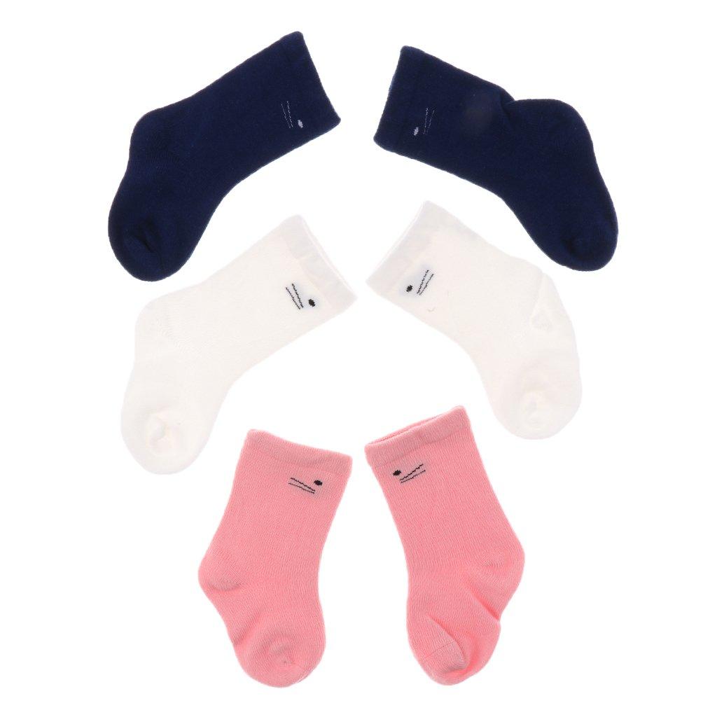 MonkeyJack 3 Pairs Cotton Unisex Baby Socks Newborn Non-Slip Floor Socks Girl and Boy Short Socks