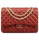 Ainifeel Women's Quilted Oversize Genuine Leather Shoulder Handbag Hobo Bag Purse (X-Large, Claret (gold hardware))