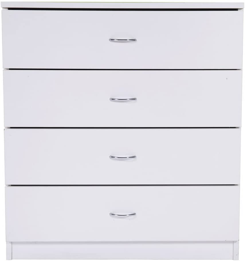 Ssmart home! Storage Dresser 4 Drawers with Cabinet Wood Furniture White
