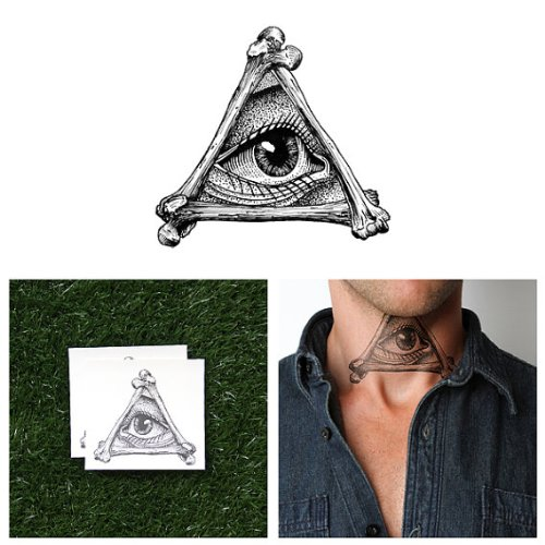 Tattify Illuminati Temporary Tattoo - All Seeing (Set of 2) - Other Styles Available - Fashionable Temporary Tattoos - Long Lasting and Waterproof