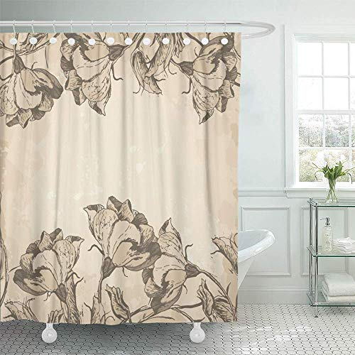 Old Antique Engraving - Shower Curtain Waterproof Decorative Bathroom 72 x 72 inches French Floral Border in Vintage Style Old Engraving Flowers Antique Victorian Award Polyester Fabric Set with Hooks